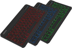 Arteck HB030B Universal Slim Portable Wireless Bluetooth 3.0 7-Colors Backlit Keyboard